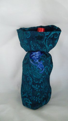 Blue Brocade  Wine Bag