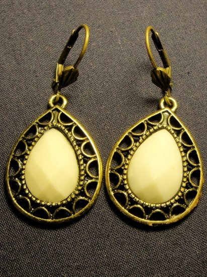 Bronze Toned Faux Vintage Teardrop Earrings