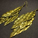 Bronze Toned Leaves Jingle Earrings