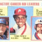 1984 Topps #704 Tony Perez/Rusty Staub/Al Oliver