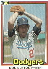 1981 Donruss #58 Don Sutton