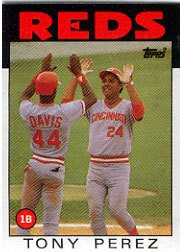 1986 Topps 85 Tony Perez/(Eric Davis also/shown on card)