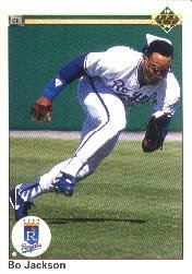 1990 Upper Deck 105 Bo Jackson UER/('89 BA wrong,/should be .256)