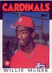 1986 Topps 580 Willie McGee