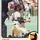 1973 Topps #121 Dave Rader