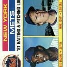 1982 Topps 246 New York Mets TL/BA: Hubie Brooks/Pitching: Mike