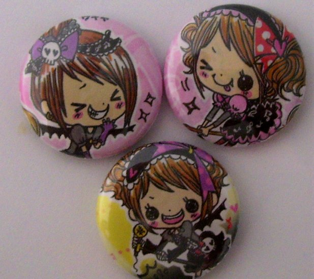 Pop Magic Rocker Girls, japanese kawaii pinback button set