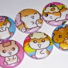 Fun with Hamsters, japanese kawaii pinback buttons badges, Sanrio