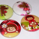 Little Red Riding Hood - japanese kawaii pins - pinback buttons - badges
