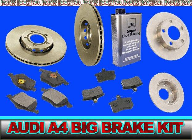 NEW AUDI A4 / Quattro FULL BRAKE Pad & Rotor KIT GERMAN