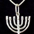 "Menorah Size: 3/4"" x 1"" Sterling Silver matching chain included"