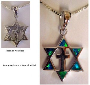 "Silver Star and Cross with Opals Pendant - 18"" Sterling Silver chain included"