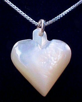 Mother of Pearl  Heart Necklace with sterling silver chain