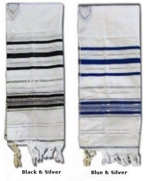 "Prayer Shawls (Tallit) with Silver Trims Size: 24"" Long x 72"""