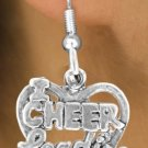 "I Love Cheerleading"" Charm in a Heart - Choose Earring Style- 2 Options"