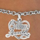 Cheerleading Friends Forever Heart Charm with Necklace