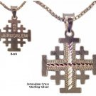 "Jerusalem Cross Silver Necklace 7/8 x 5/8"" - 18"" Sterling Silver chain included"