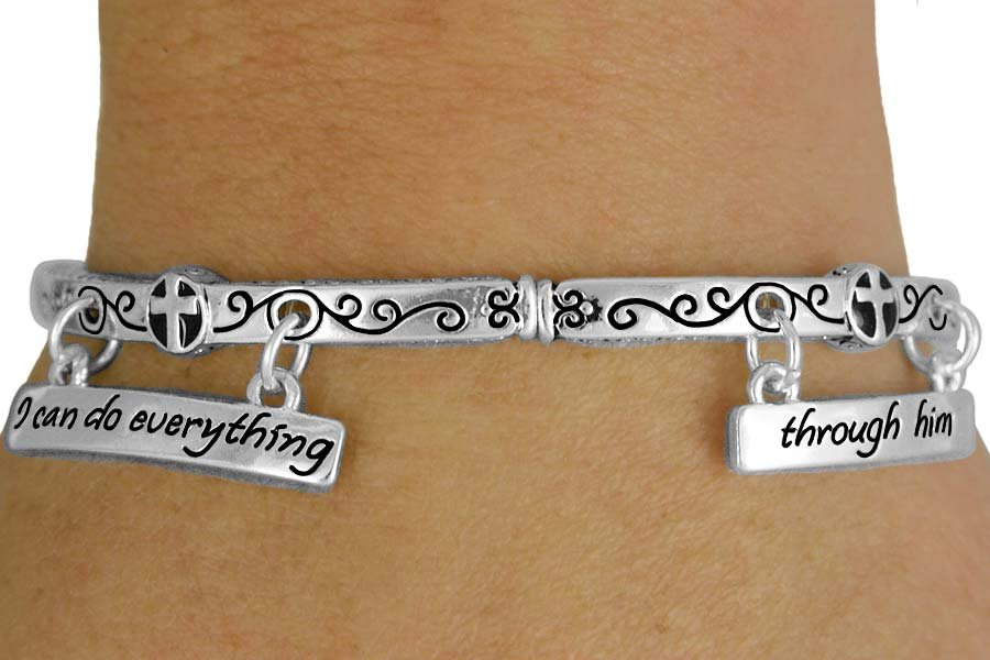 """""""I Can Do Everything Through Him Who Gives Me Strength. -Philippians 4:13 Bracelet"""