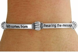 Faith Comes From Hearing  - Romans 10:17 Bracelet - Silver Tone