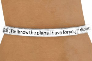 Jeremiah 29:11 For I Know The Plans I Have For You-  Silver Tone Stretch  Bracelet