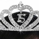 "QUINCEAÑERA 15"" HEART WAVE TIARA - Very brilliant and sparkly"