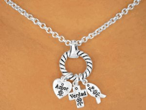 Amor, Verdad, Fe -  Spanish Necklace and Earrings