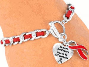 """Red """"Heart Disease"""" And/Or """"Aids"""" Awareness Charm Bracelet - Spanish Bracelet"""