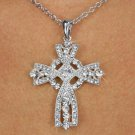 Sterling Silver Austrian Crystals Cross Necklace
