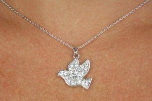 Silver Tone Dove Austrian Crystals Cross Necklace