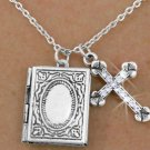 Silver Tone Antique Locket and Austrian Crystal Cross Charm Necklace