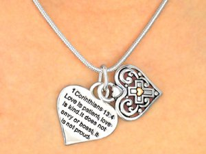 1 Corinthians 13:4 verse Charm Necklace and Earrings set