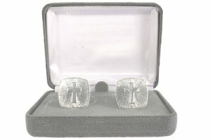 Mens Cross Cuff Links - Choose either Silver or Gold