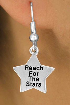 """Reach For The Stars"" Heart Charm - Charm Measures - Choose Earring Style- 2 Options"