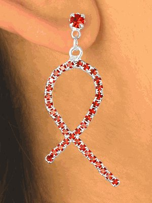 AIDS Awareness Ribbon Pierced Earrings with Red Austrian Crystals