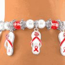 AIDS Awareness Ribbon Silver Tone Ball Stretch Bracelet
