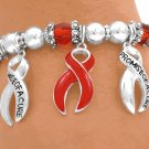 AIDS Awareness Ribbon Bracelet with Ruby Red Faceted Beads And Red Ribbons