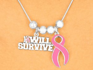 """""""I Will Survive"""" Breast Cancer Awareness Necklace and Earrings Set"""