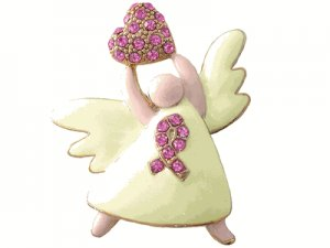Breast Cancer Awareness Angel Swarovski Crystal Pin -Best Seller for Fundraising