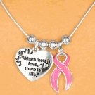 """Where There Is Love, There Is Live"" Breast Cancer Awareness Necklace and Earrings Set"