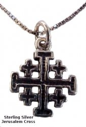 """Silver Jerusalem Cross Necklace Petit - 18"""" Sterling Silver chain included"""