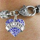 """""""BELIEVE"""" Heart Charm Bracelet"""