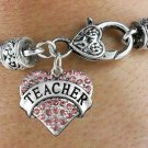 """TEACHER"" Heart Charm Bracelet"