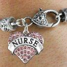 """NURSE"" Heart Charm Bracelet"