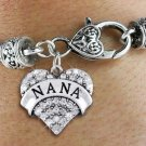 """Nana"" Heart Charm Bracelet"