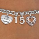 Quinceanera I Will Love You Always Themed Charm Bracelet