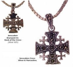 """Jerusalem Cross Marcasites with 18"""" Sterling Silver matching chain"""