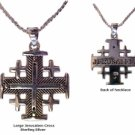 "Silver Jerusalem Cross (size large) - 18"" Sterling Silver chain included"