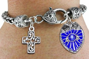 Policeman Shield and Cross Charm Bracelet