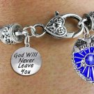 "Policeman Shield and ""God Will Never Leave You""  Charm Bracelet"