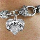 """""""DANCE"""" Heart Charm Bracelet"""